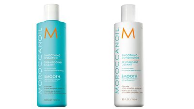 "To smooth frizzy hair:<br /><p><a href=""http://www.moroccanoil.com/australia/countryselector"" target=""_blank"">Smoothing Shampoo and Conditioner, $43.95 each, Moroccanoil.</a></p>"