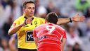 Referee Gerard Sutton.