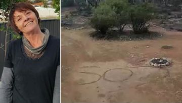 Deborah Pilgrim wrote an SOS message while lost in bushland.