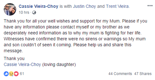 Ms Vieira's family are asking for help on Social Media to determine what happened.