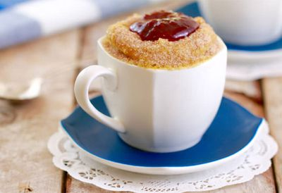 """Recipe:&nbsp;<a href="""" /article/9110700/make-a-mug-donut-in-six-minutes-with-items-from-your-pantry """" target=""""_top"""">Microwave mug jam donut</a>"""