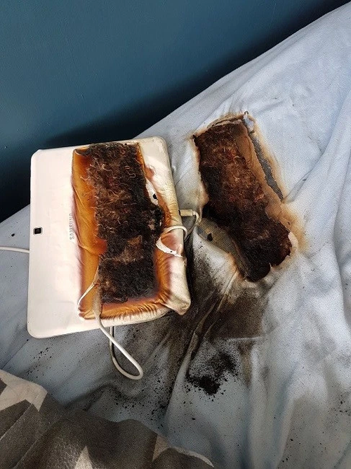 The aftermath of the tablet catching fire.