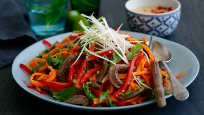 Jacqueline Alwill's tamari beef and carrot noodle salad