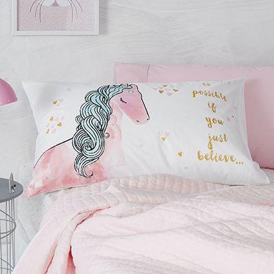 "<a href=""https://www.adairs.com.au/adairs-kids/bedroom/pillowcases/adairs-kids/text-pillowcase-85d07f19/"" target=""_blank"">Adairs Kids Unicorn Pillowcase, from $11.99.</a>"