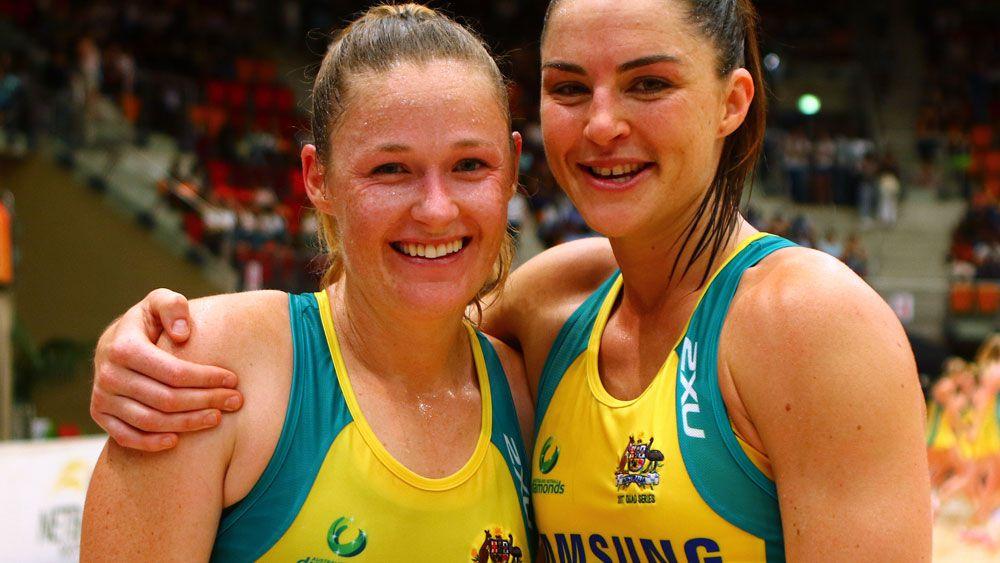 Susan Pettitt and Sharni Layton following an appearance for the Australian Diamonds. (AAP)