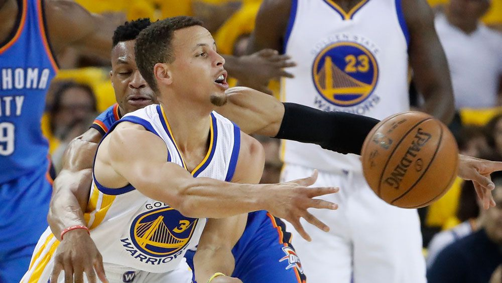 NBA: Curry sparkles as Warriors roll Thunder to level series