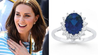 Kate and Diana's sapphire and diamond engagement ring