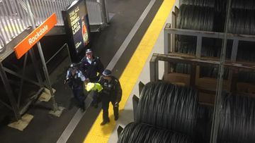 Police from St George Area Command at Rockdale Train Station last night.