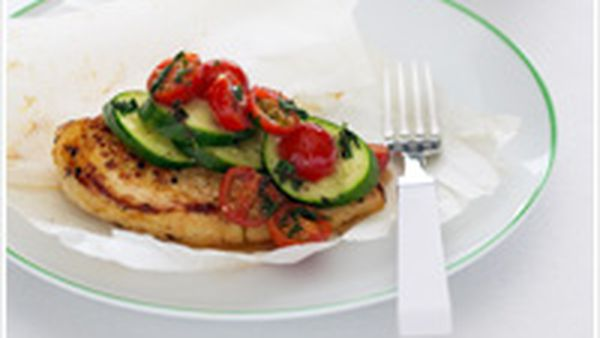 Chicken and zucchini parcels