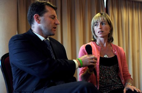 Kate and Gerry McCann, parents of missing English toddler Madeleine McCann, speak during a press conference in a hotel in Lisbon on September 23, 2009.