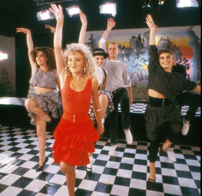 A still from the film clip for 'The Locomotion', Kylie's debut single and worldwide smash.