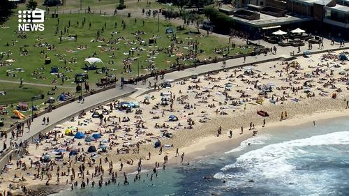 People can be seen here on the sand and grass at Coogee.