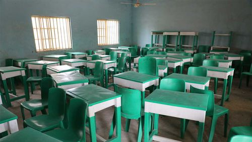 An empty classroom of Government Girls Junior Secondary School following an attack by gunmen in Jangebe, Nigeria.