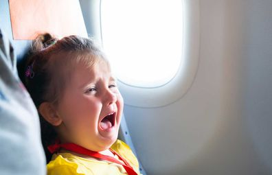Kid / baby crying on a plane