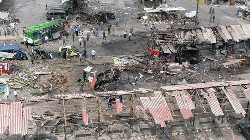 This bus station was among the sites targeted. (AAP)