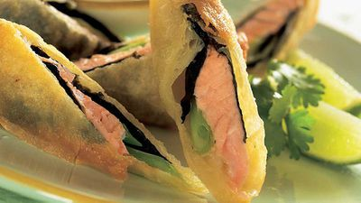 """<strong><a href=""""http://kitchen.nine.com.au/2017/06/09/15/06/salmon-spring-rolls"""" target=""""_top"""" draggable=""""false"""">Salmon spring rolls</a> recipe</strong>"""