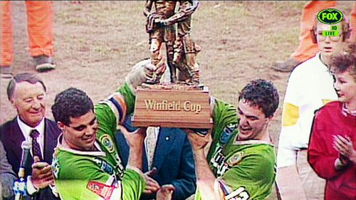 Meninga captained the Canberra Raiders to a grand final win in 1989.