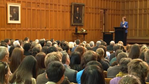 Hundreds of people attended Julia Gillard's lecture at the University of Adelaide. (Supplied)