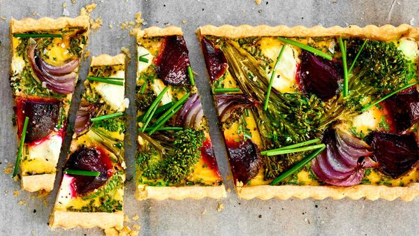 Beetroot, broccoli, goat's cheese and chive tart