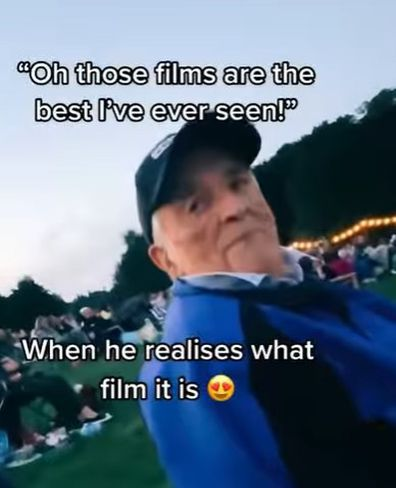 Grandpa gets excited to see The Greatest Showman at outdoor cinema.
