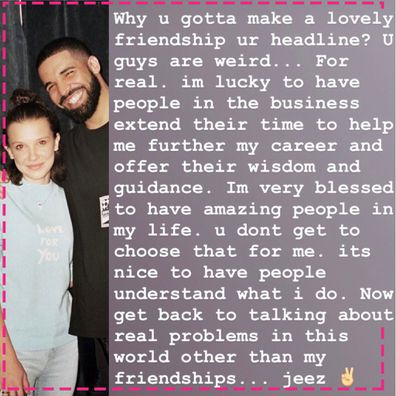 Millie Bobby Brown, Drake, comments, trolls, friendship