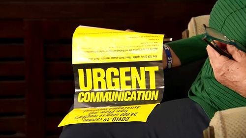 """The flyers, labelled with the words """"Urgent Communication"""", contain claims about the state of the country's pandemic situation as well claims about the multiple COVID vaccines available to Australians."""