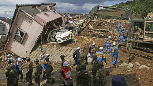 The devastation in Kumano in Hiroshima Prefecture. (AAP)