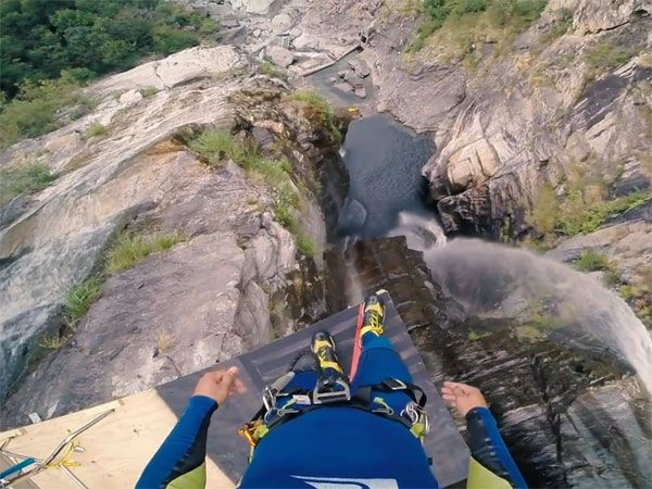 Laso Schaller's view before his world record cliff-jump. (Supplied)