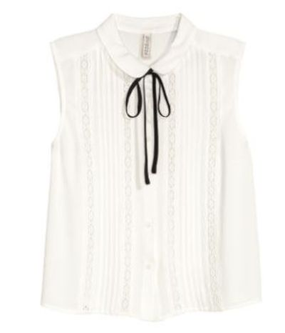 """H&M sleeveless pussy-bow blouse in viscose, $34.95, <a href=""""http://www.hm.com/au/product/44116?article=44116-A"""" target=""""_blank"""">Hm.com<br /> </a>"""