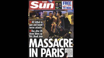 UK newspaper <em>The Sun</em> ran 'Massacre in Paris'.