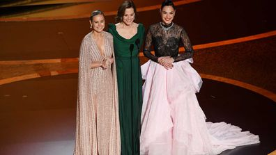 Brie Larson, Sigourney Weaver, and Gal Gadot speak onstage during the 92nd Annual Academy Awards at Dolby Theatre on February 09, 2020.