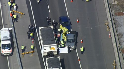 Motorcyclist killed in collision with truck on Sydney's M4