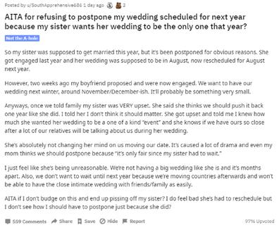 Reddit post sister asked to postpone wedding