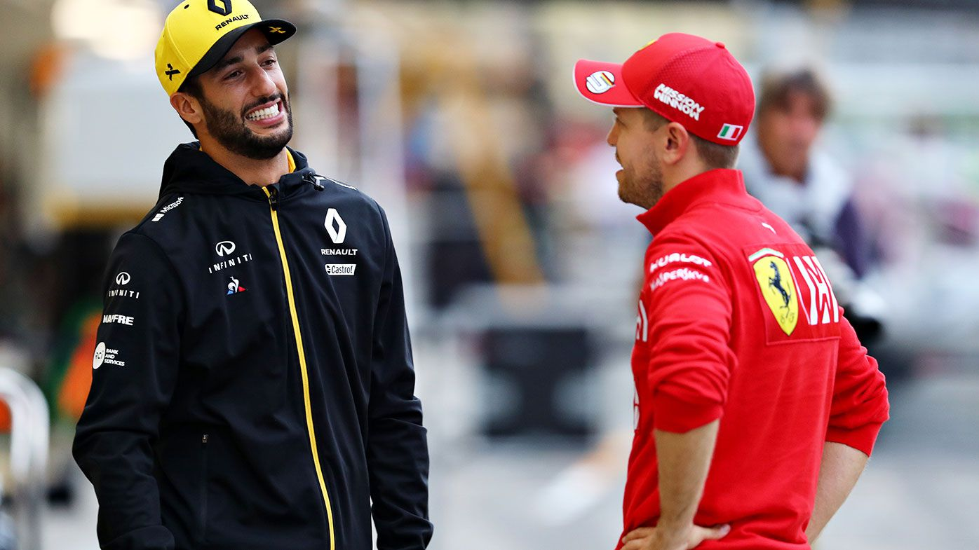 Daniel Ricciardo with Sebastian Vettel in Japan in 2019.