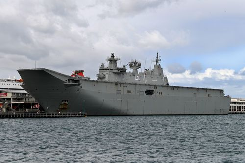 A Chinese 'spy' ship is tailing the HMAS Adelaide near Fiji. Photo: AAP