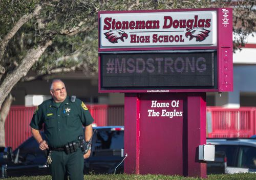 Many Stoneman Douglas students arrived on campus today wearing the burgundy #MSDStrong T-shirts that have become an emblem of the tragedy.