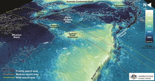 New mapping reveals details of the Indian Ocean seabed where authorities are searching for missing Malaysia Airlines flight MH370. (Australian Transport Safety Bureau)