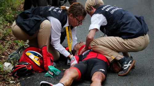 Richie Porte suffered a fractured collarbone and pelvis. (AAP)