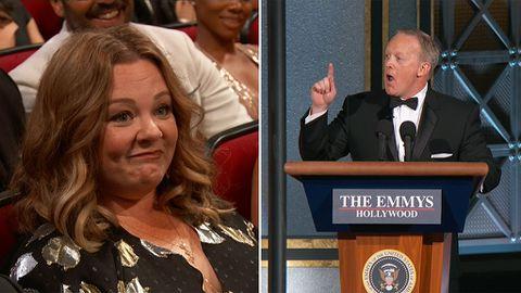 Sean Spicer mocks Trump at the Emmy Awards