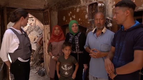 Jolie met with families in the war-torn city. Picture: UNHCR