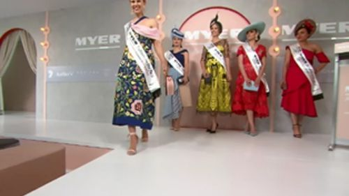 The brightly dressed finalists lit up the stage at Flemington Racecourse. (9NEWS)