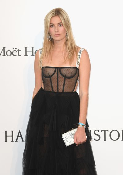 Camille Charriere ignores underpinnings in her Dior.