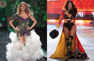 The Victoria's Secret shows are notorious for getting new mothers into lingerie… very soon after giving birth.  In 2009 Heidi was back up on the stage after five weeks, and then Adriana laced up after eight weeks in 2012.