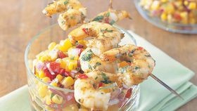 Coriander prawns and apricot salsa