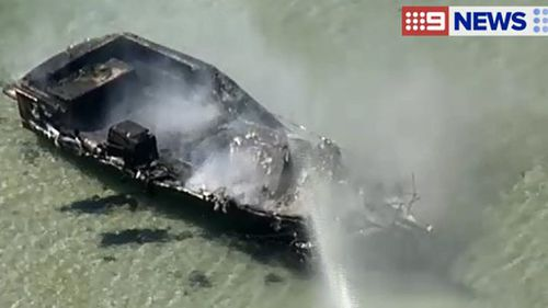 The CFA responded after reports of a fire in the harbour. (9NEWS)