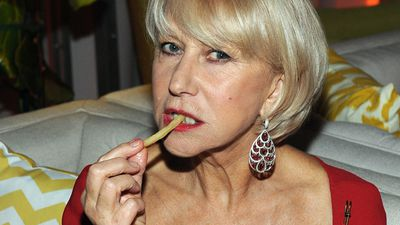 January 12, 2014: Helen Mirren is just trying to enjoy some fries at the Golden Globes after party. <br><br> Photo by Angela Weiss, Getty Images for TWC.
