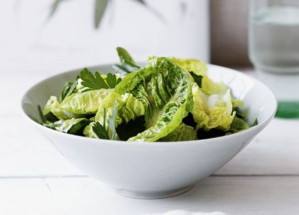 Baby cos and herb salad with garlic vinaigrette