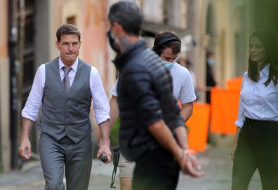 Tom Cruise and Hayley Atwell are seen on the set of the movie Mission Impossible 7.
