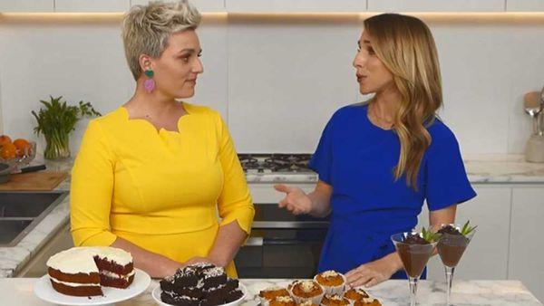 Jane de Graaff shows Today Extra's Britt Cohen how to hide veggies in dessert