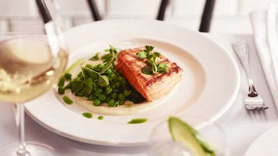 Wood grilled king salmon